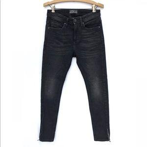 Zara Mens Ankle Zipper Stretch Skinny Jeans 29x28